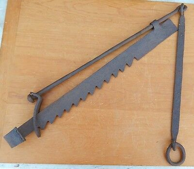 Antique 19th Century Hand Wrought Fireplace Sawtooth Trammel Hand Made 1800's B