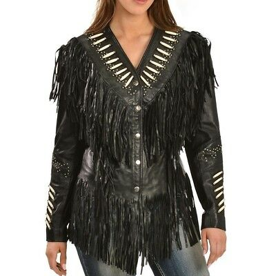 Vipzi Western Women/'s Suede Leather Jacket with bones and Cognac trim Fringed