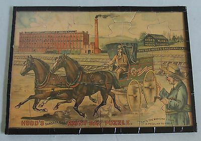 Rare 1891 Hood's Sarsaparilla Advertising Puzzle Displayed Between Clear Plastic