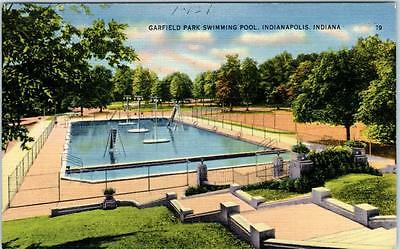 INDIANAPOLIS, Indiana IN   GARFIELD PARK Swimming Pool  1942 Linen   Postcard