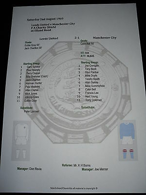 1969 FA Charity Shield Leeds United v Manchester City Matchsheet