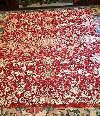 Antique Jacquard Coverlet Dated 1839 Eagle and Stars Soldiers with Drawn Swords