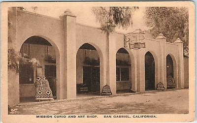 SAN GABRIEL, CA California   MISSION CURIO & Art Shop  c1920s Albertype Postcard
