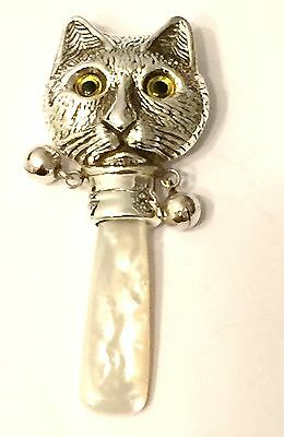 Sterling Silver Novelty Cat Baby Rattle Beautiful