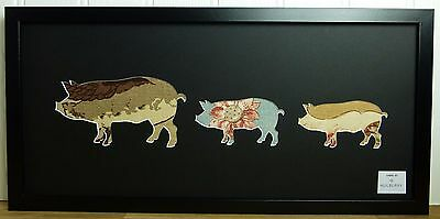 Mulberry Home Fabric Pig Family Picture 2953 Silhouette Art