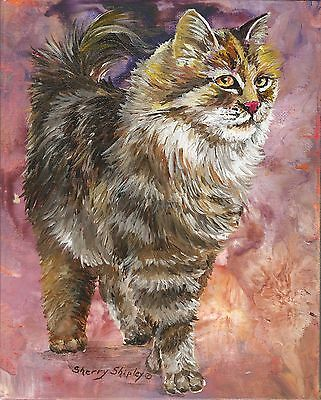 CAT i AM Original 8X10 MAINE COON  Cat  Painting by Sherry Shipley