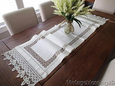 Long Beautiful ANTIQUE Linen & Tape Lace Table Runner Mantel Scarf 76x17
