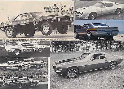 70 LOT Chevy CAMARO Interesting Variety of Magazine Clips, Lots of Drag Racing