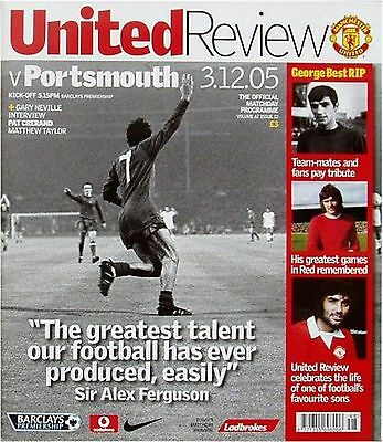 MANCHESTER UNITED v PORTSMOUTH Premier League 2005/06 MINT GEORGE BEST TRIBUTE