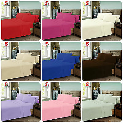 Pollycotton Fitted Sheet Flat Sheets-Single Double King Super King Pillowcase