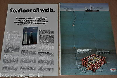 1975 Exxon Oil 2-page advertisement, seafloor oil wells, deep ocean drilling