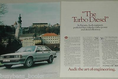 1982 AUDI 5000 Turbo 2-page advertisement, Audi 5000 Turbo Diesel in Bavaria