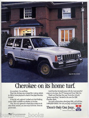 1990 JEEP CHEROKEE advertisement, Jeep Cherokee Limited, muddy, Canadian advert