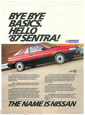 1987 NISSAN SENTRA advertisement, Nissan Sentra coupe