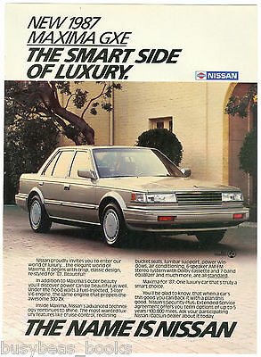 1987 NISSAN MAXIMA advertisement, Nissan Maxima GXE sedan