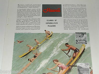 1940 Hawaii tourism ad, Toni Frissell, outrigger canoes