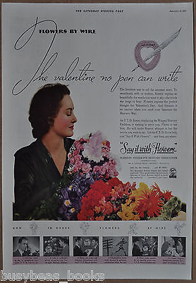 1937 FTD FLOWERS advertisement, Flowers by wire, Florists' Telegraph Delivery