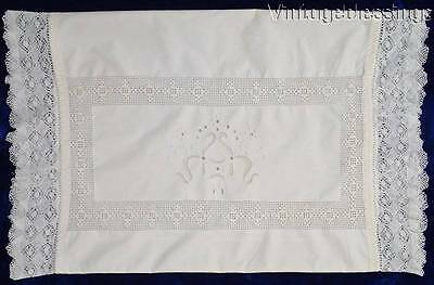 Beautiful LACE Embroidered Whitework ANTIQUE Lumbar Pillow Sham 26X17""