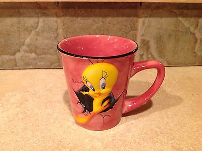 RARE - Tweety Bird 3D Pink Ceramic Coffee Mug Cup Looney Tunes - FREE SHIPPING