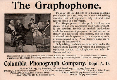 Ad Lot Of 8 1890 's Ads Columbia Graphophone Zither Phonograph