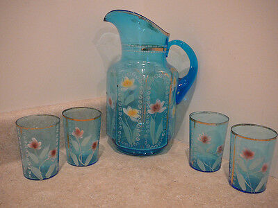 S20 Antique Victorian Enamel Blue Art Glass Pitcher 4 Tumblers Water Set Floral