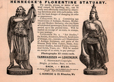 Ad Lot Of 3 1880 's Ads Hennecke Statuary Decorative Florentine Fairy Tales