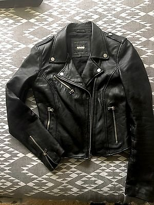 Zara Genuine Leather Biker Jacket Sz M (8-10)