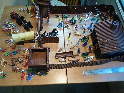 Vintage Cowboy Play Set Britains W. Germany Playmobil Elastolin Timpo 100+ Bits