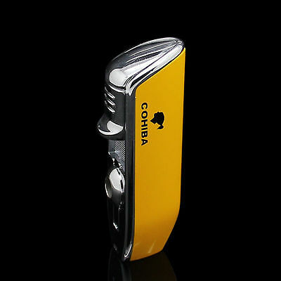 Yellow Chrome C Brand 3Torch Jet Flame Cigar Cigarettes Lighter w/ Punch~ Butane