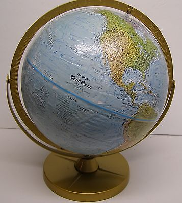 """Vintage Replogle 12 """" Raised Relief Globe World Ocean Series Made in the USA"""