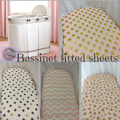Bassinet, Moses, Boori fitted sheets - SALE last stock, discounted chevron, dots