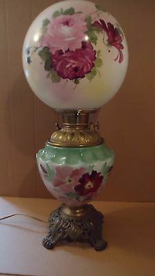 """Large Antique Gone with the Wind oil Lamp  23"""""""