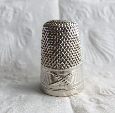 Antique Sterling Silver Tall French Thimble Lenain?