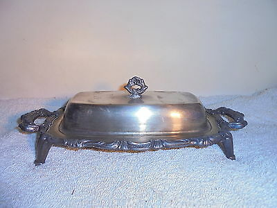 Vintage Antique silverplate butter dish with glass insert signed
