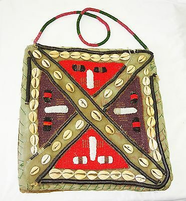 20C African Kenya Tribal well worn Bag w. Bead & Shell Accents (Eic)