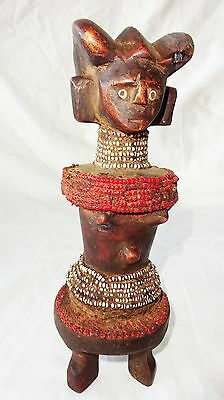 20CT African Zaire Tribal Ancestral Figure Sculpture Carving w Bead Accents(Eic)