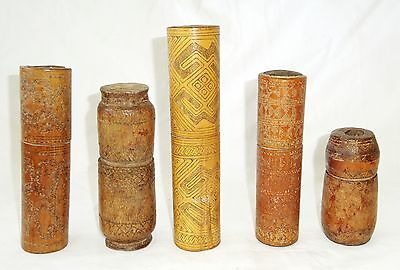 5x 20CT Timor Bamboo Carved Lime Containers w. Painted & Incised Motifs (Eic)