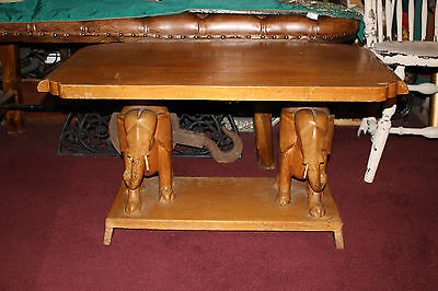 Antique Elephant Carved Wood Table-Carved Wood Elephants-Large Table