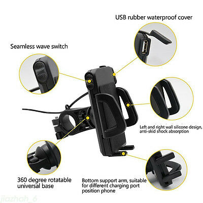 Motorcycle MTB Cell Phone Handlebar Mount Holder&USB Charger 12V-24V