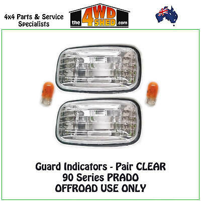 Indicator Guard Repeater Blinker Lights Toyota Prado 90 Series Pair Clear 96-02