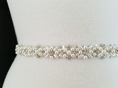 "Wedding Dress Sash Belt - Pearl Crystal Sash Belt = 20"" long"