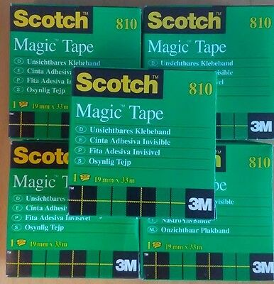 "Lot of 5 Scotch Invisible Magic Tape 3 M, 3/4 x 1299"", 19mmX33m, Made in France"