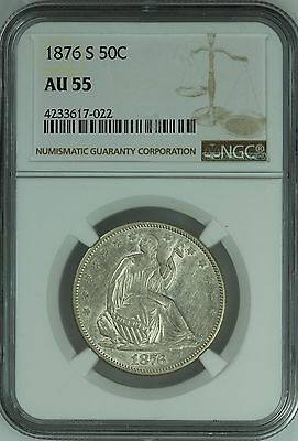 1876 S Seated Half Dollar! Ngc Au55! 50C! Us Coin Lot #3445