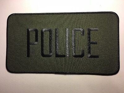 """Police Officer High Quality Embroidered Uniform Back Patch Black/Green 12"""" X 6"""""""