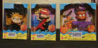 Lot of 3 NIB Nickelodeon Rugrats Collectable Halloween Dolls 90s Angelica
