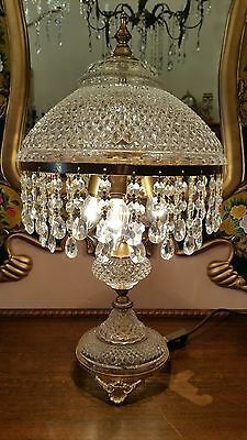 Vintage Brass and Crystal  Table Lamp.  Delicate and pretty.