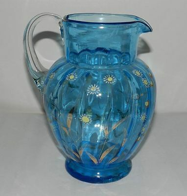 Early 1900s Hand Enameled Glass Blue Jug
