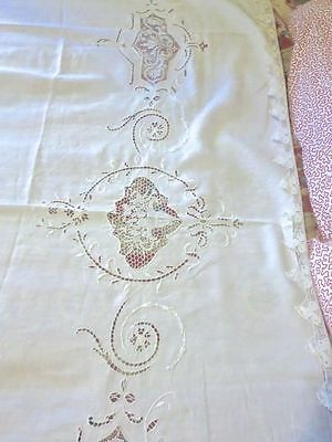 1900 White French Linen Sheet Topper Needle Lace Filet Lace & Cutwork 84 x 68