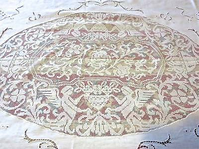 1900s Antique French Linen & Filet Lace Grand Angels And Flowers Table or Bed