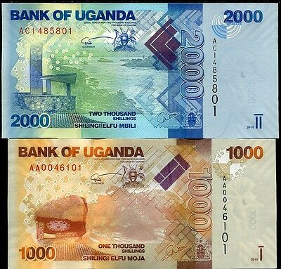 Uganda Set 2 Pcs 1000 2000 Shillings 2010 P 49 50 Unc